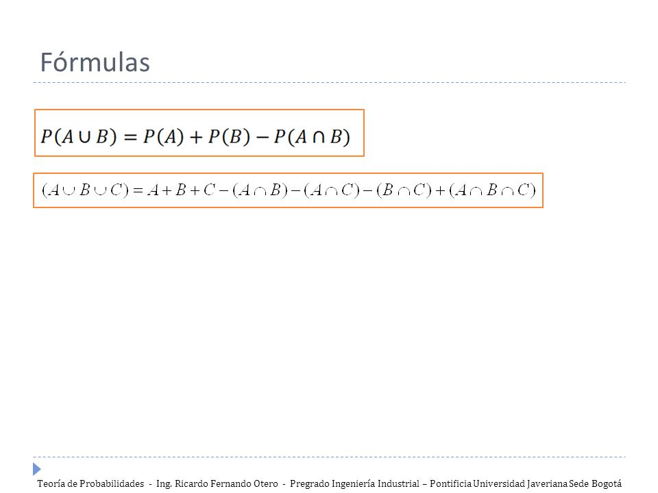 Fórmulas Teoría de Probabilidades - Ing.