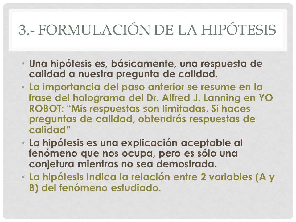 3.- formulación de la hipótesis