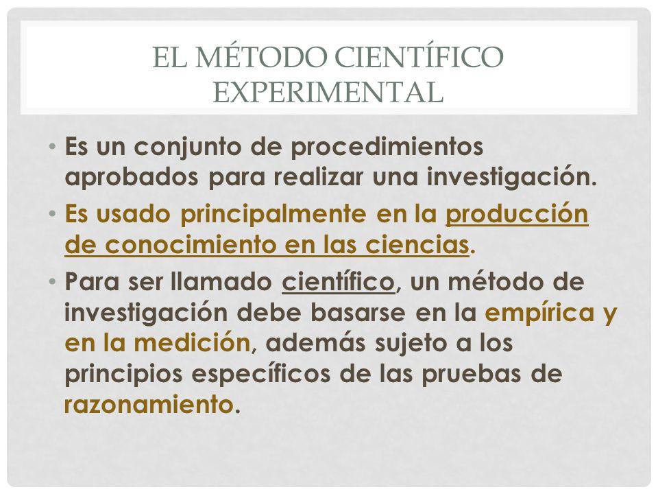 El método científico EXPERIMENTAL