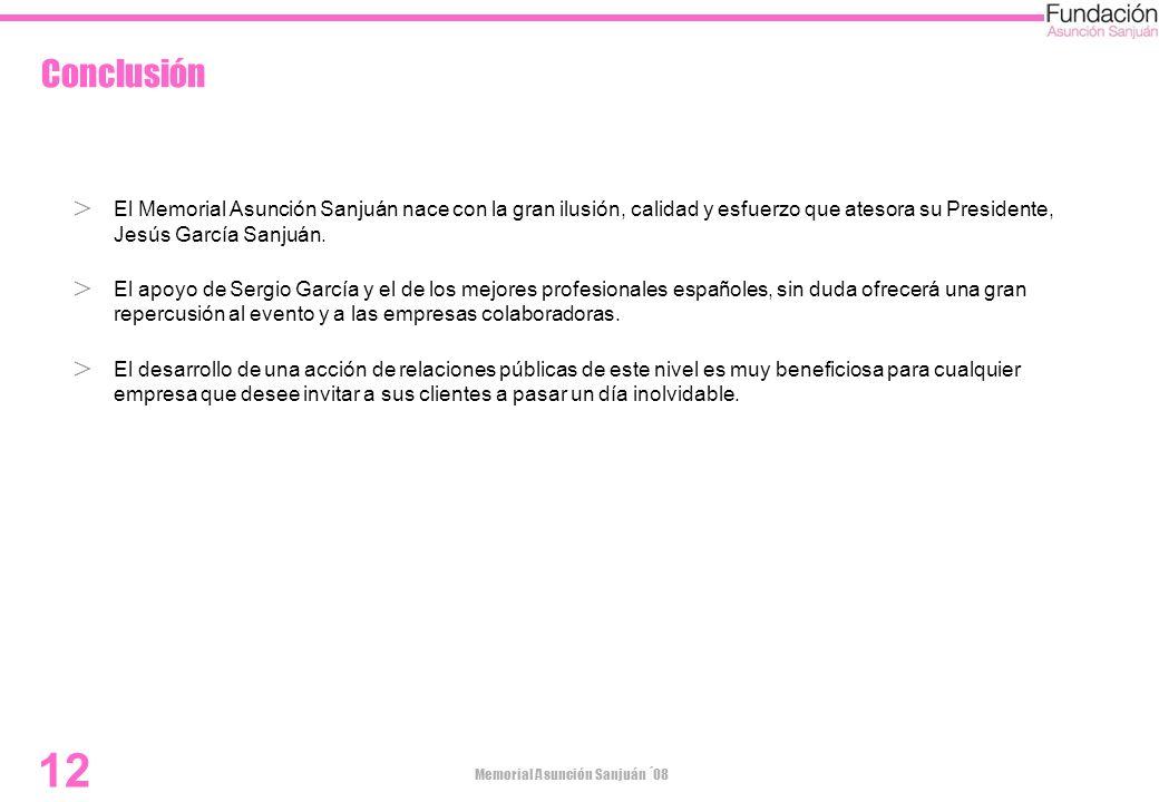 Conclusión El Memorial Asunción Sanjuán nace con la gran ilusión, calidad y esfuerzo que atesora su Presidente, Jesús García Sanjuán.