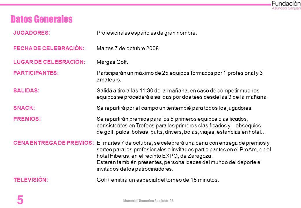 Datos Generales JUGADORES: Profesionales españoles de gran nombre.