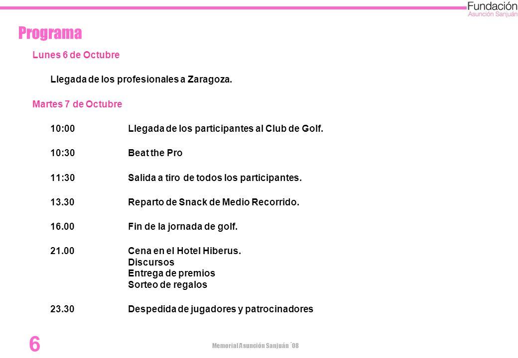 Programa Lunes 6 de Octubre Llegada de los profesionales a Zaragoza.
