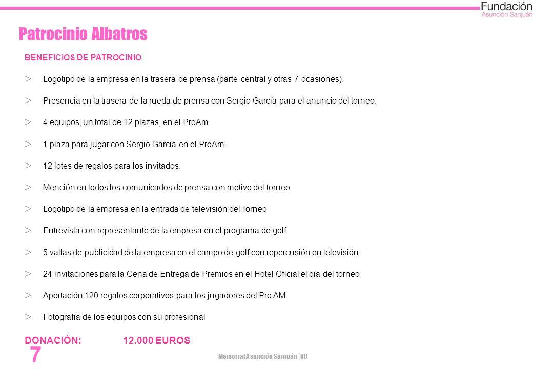 Patrocinio Albatros DONACIÓN: 12.000 EUROS BENEFICIOS DE PATROCINIO