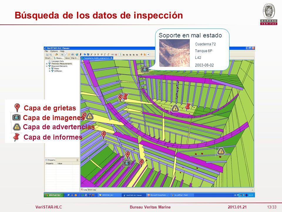 Búsqueda de los datos de inspección