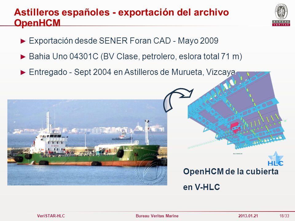 Astilleros españoles - exportación del archivo OpenHCM