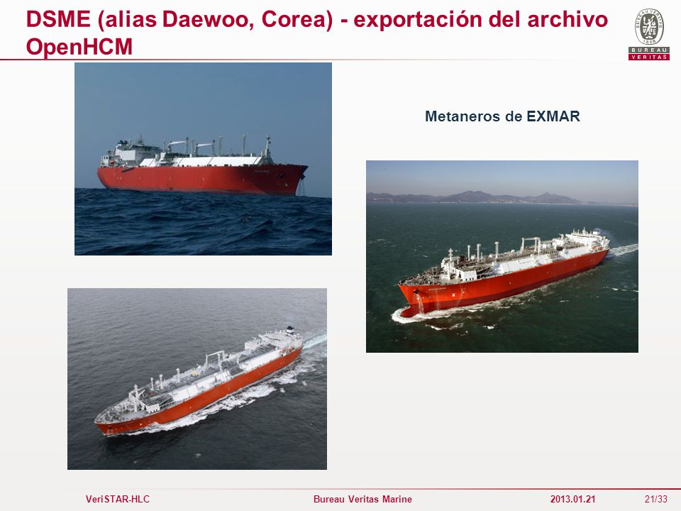 DSME (alias Daewoo, Corea) - exportación del archivo OpenHCM