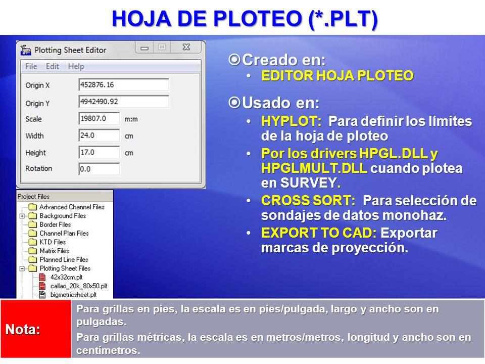 HOJA DE PLOTEO (*.PLT) Creado en: Usado en: EDITOR HOJA PLOTEO