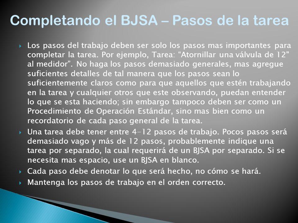 Completando el BJSA – Pasos de la tarea