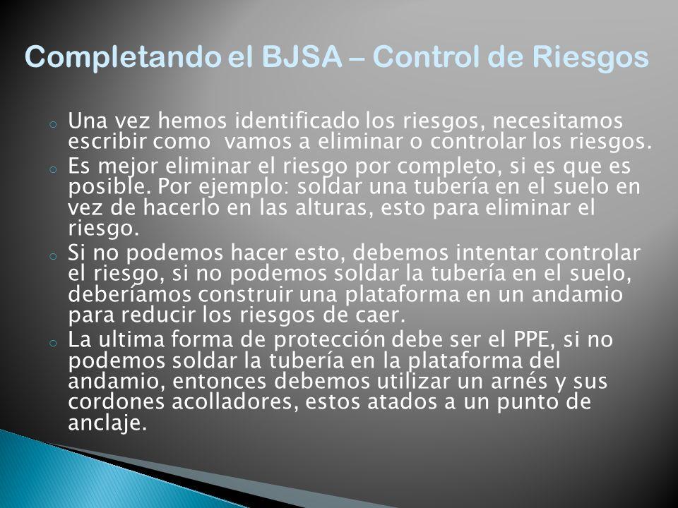 Completando el BJSA – Control de Riesgos