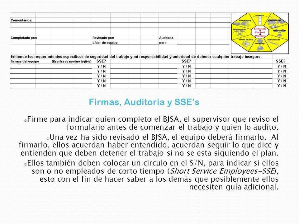 Firmas, Auditoria y SSE's