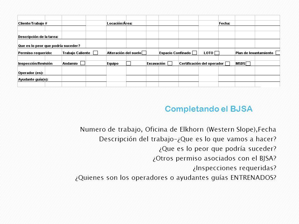 Completando el BJSA Numero de trabajo, Oficina de Elkhorn (Western Slope),Fecha. Descripción del trabajo-¿Que es lo que vamos a hacer