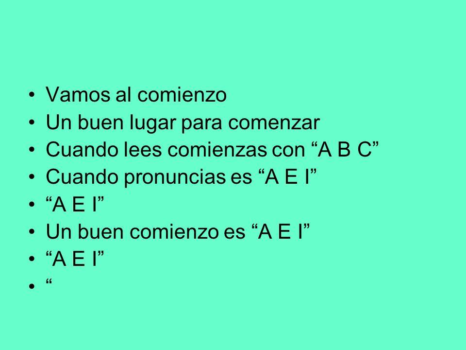 Vamos al comienzoUn buen lugar para comenzar. Cuando lees comienzas con A B C Cuando pronuncias es A E I