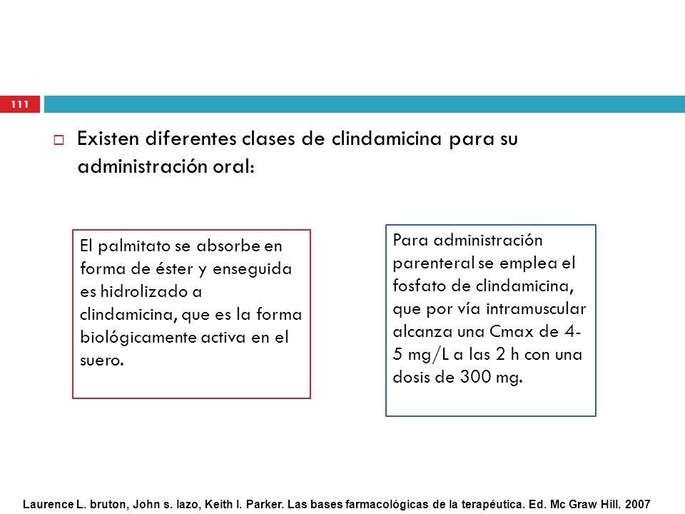 Existen diferentes clases de clindamicina para su administración oral: