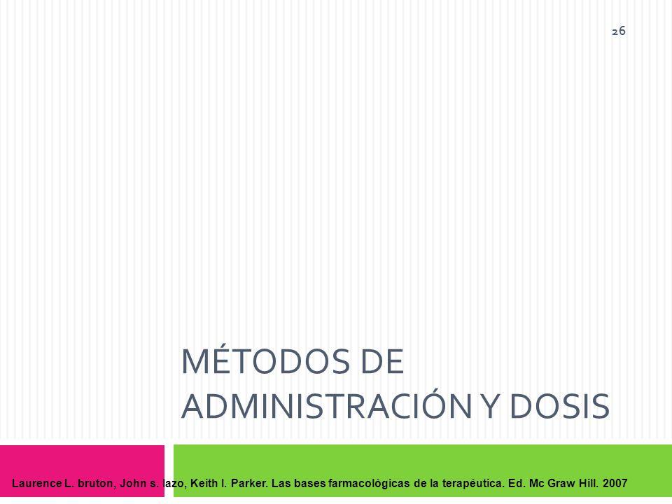 Métodos de administración y Dosis