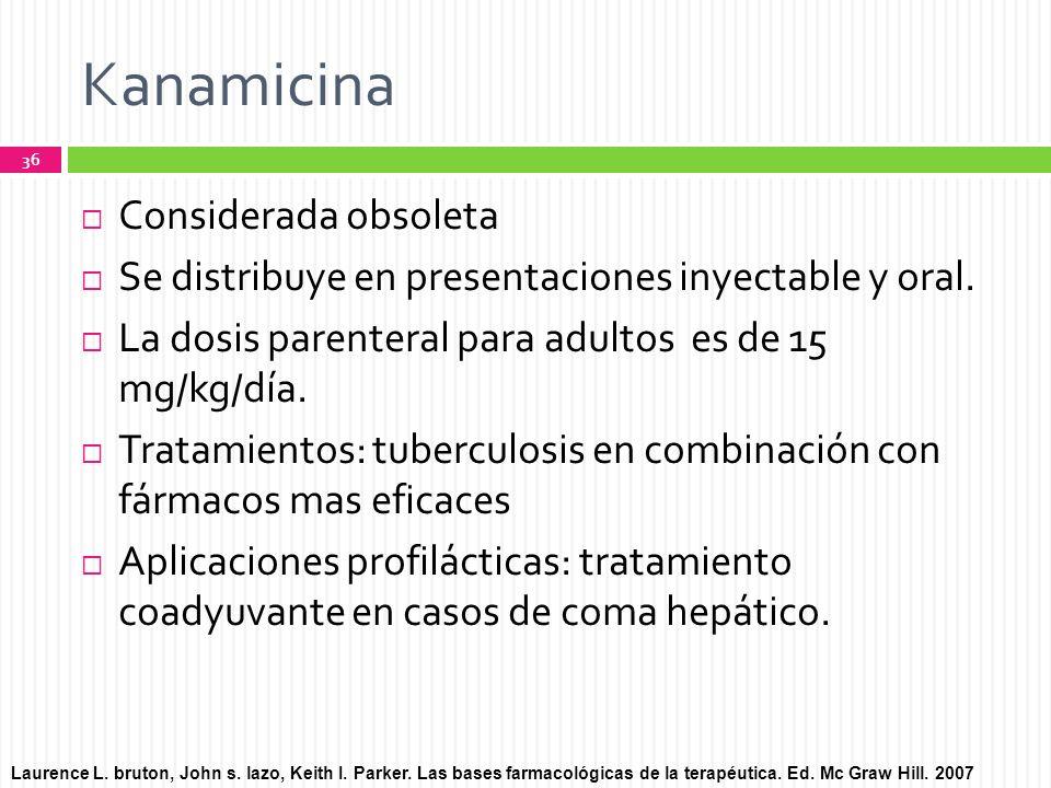 Kanamicina Considerada obsoleta