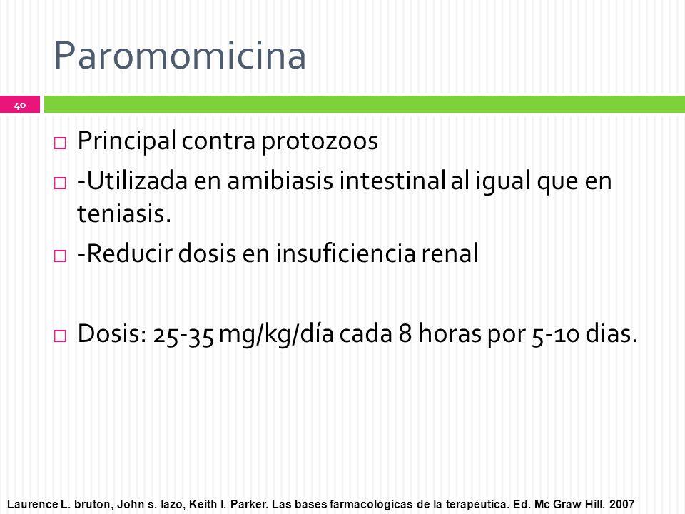 Paromomicina Principal contra protozoos