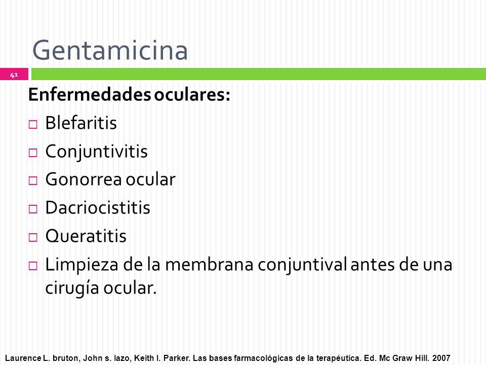 Gentamicina Enfermedades oculares: Blefaritis Conjuntivitis