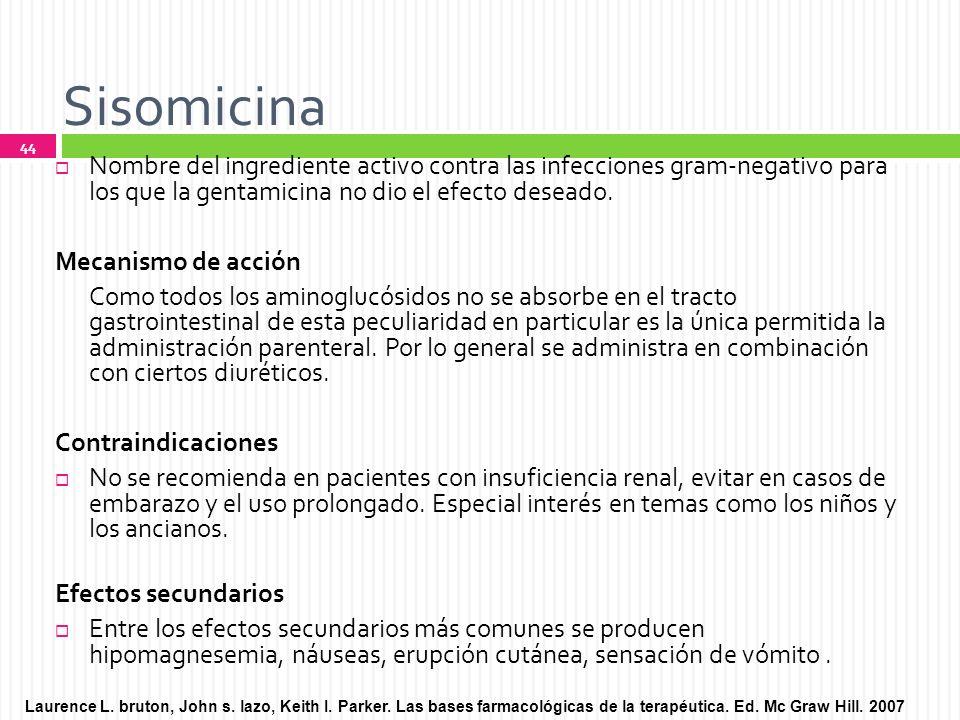Sisomicina Nombre del ingrediente activo contra las infecciones gram-negativo para los que la gentamicina no dio el efecto deseado.