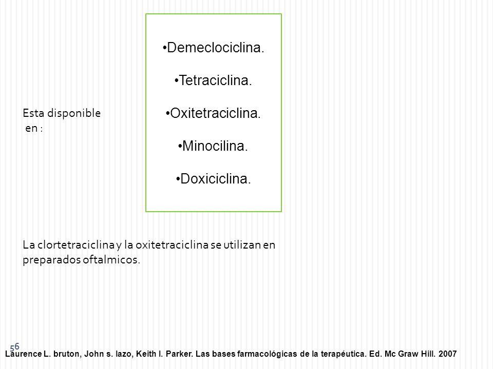 Demeclociclina. Tetraciclina. Oxitetraciclina. Minocilina.