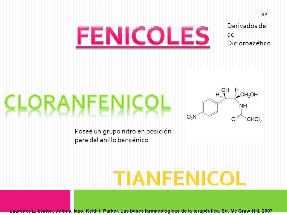 FENICOLES CLORANFENICOL TIANFENICOL Derivados del ác. Dicloroacético