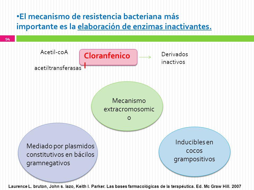 El mecanismo de resistencia bacteriana más importante es la elaboración de enzimas inactivantes.