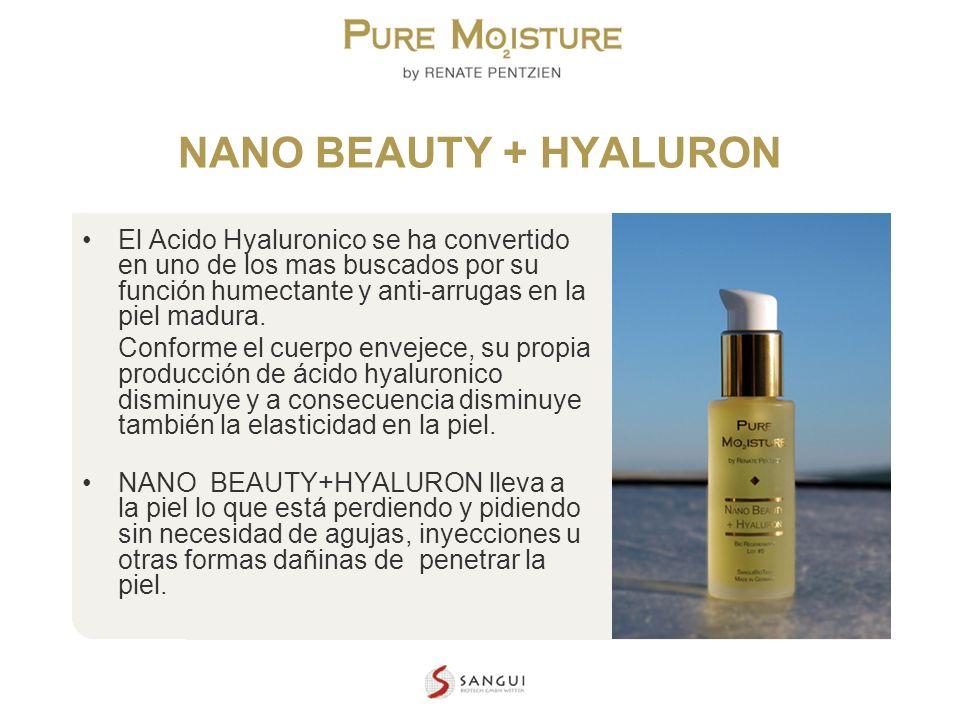 NANO BEAUTY + HYALURON El Acido Hyaluronico se ha convertido en uno de los mas buscados por su función humectante y anti-arrugas en la piel madura.