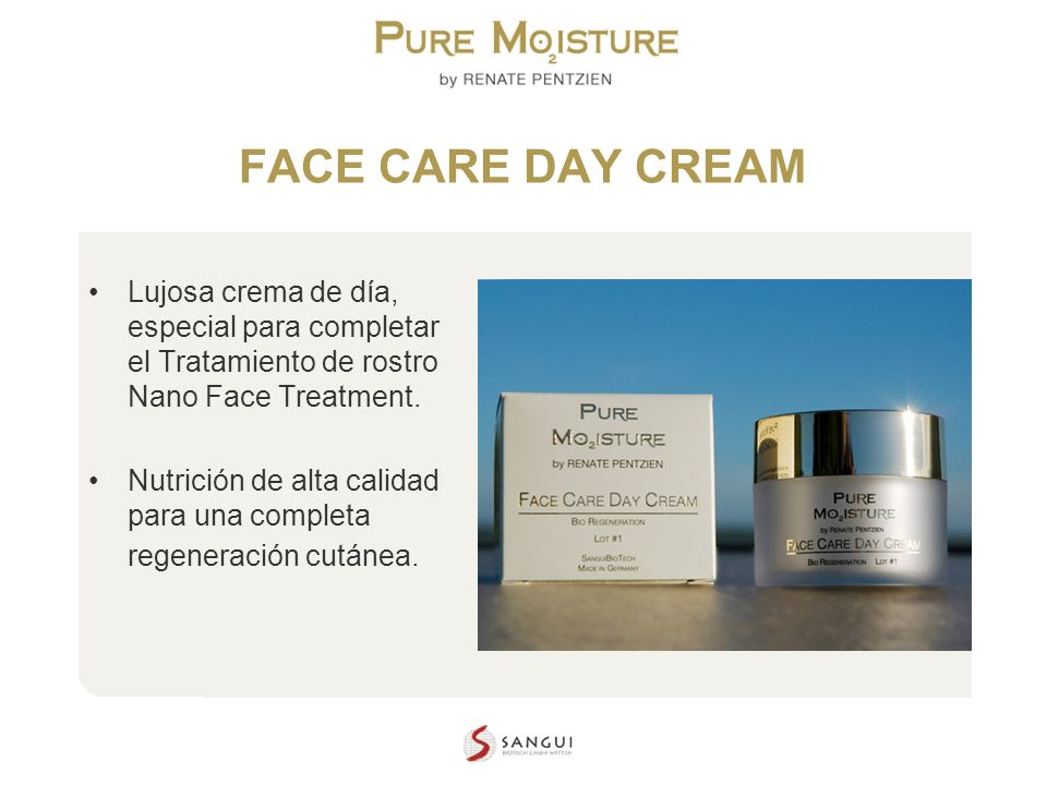 FACE CARE DAY CREAM Lujosa crema de día, especial para completar el Tratamiento de rostro Nano Face Treatment.