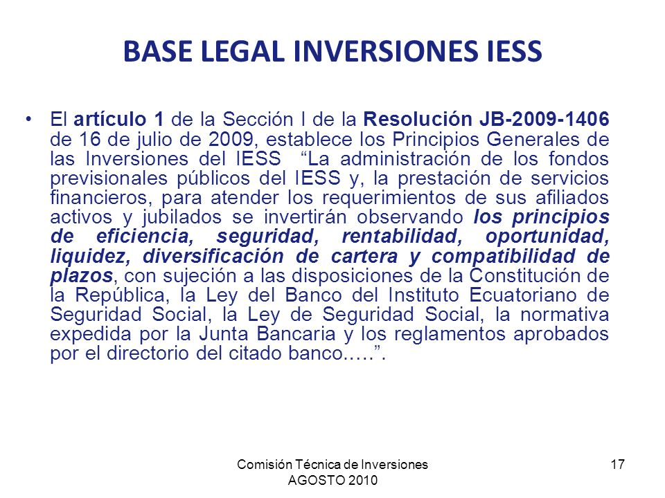 BASE LEGAL INVERSIONES IESS