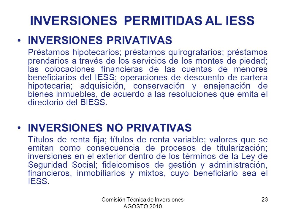 INVERSIONES PERMITIDAS AL IESS
