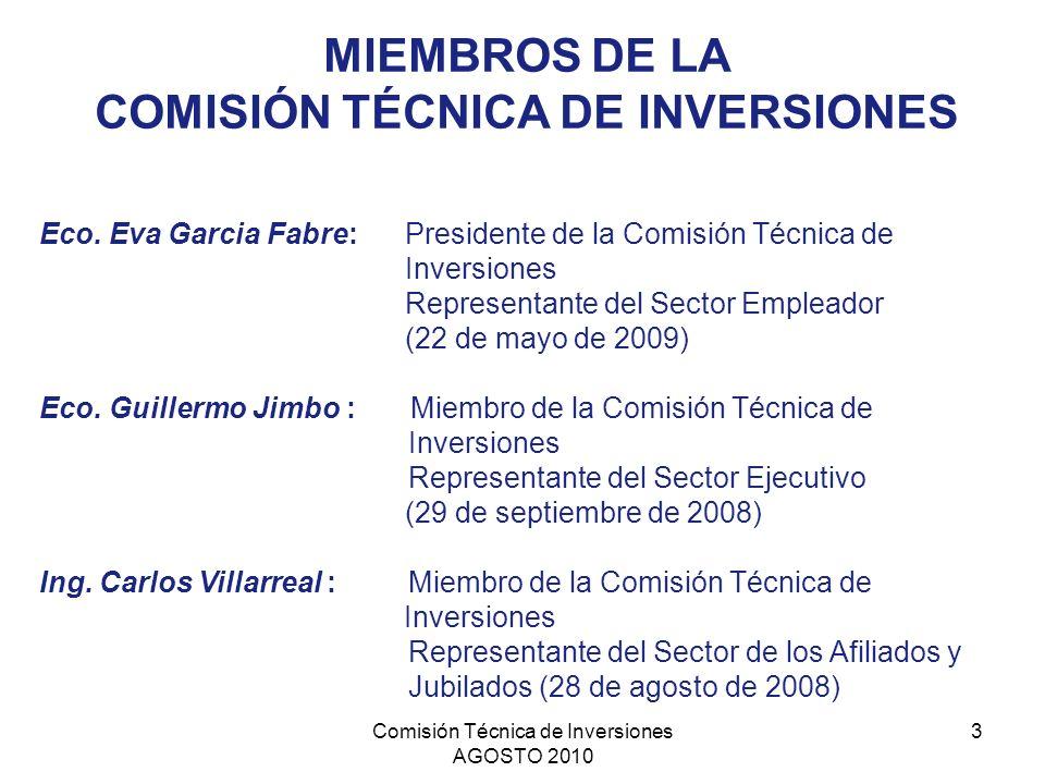 COMISIÓN TÉCNICA DE INVERSIONES