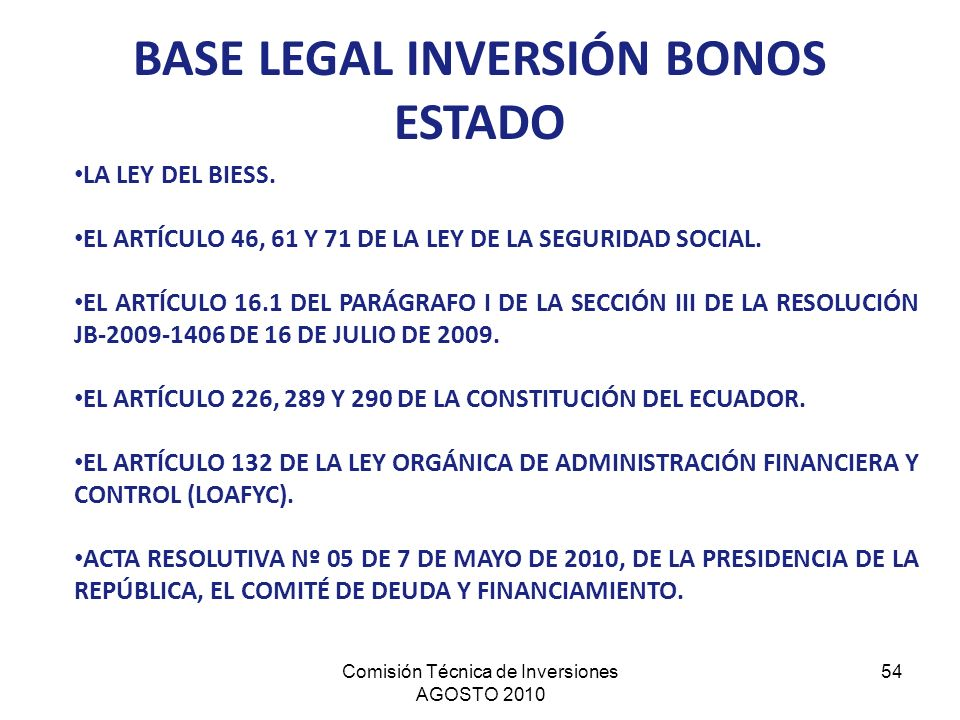 BASE LEGAL INVERSIÓN BONOS ESTADO