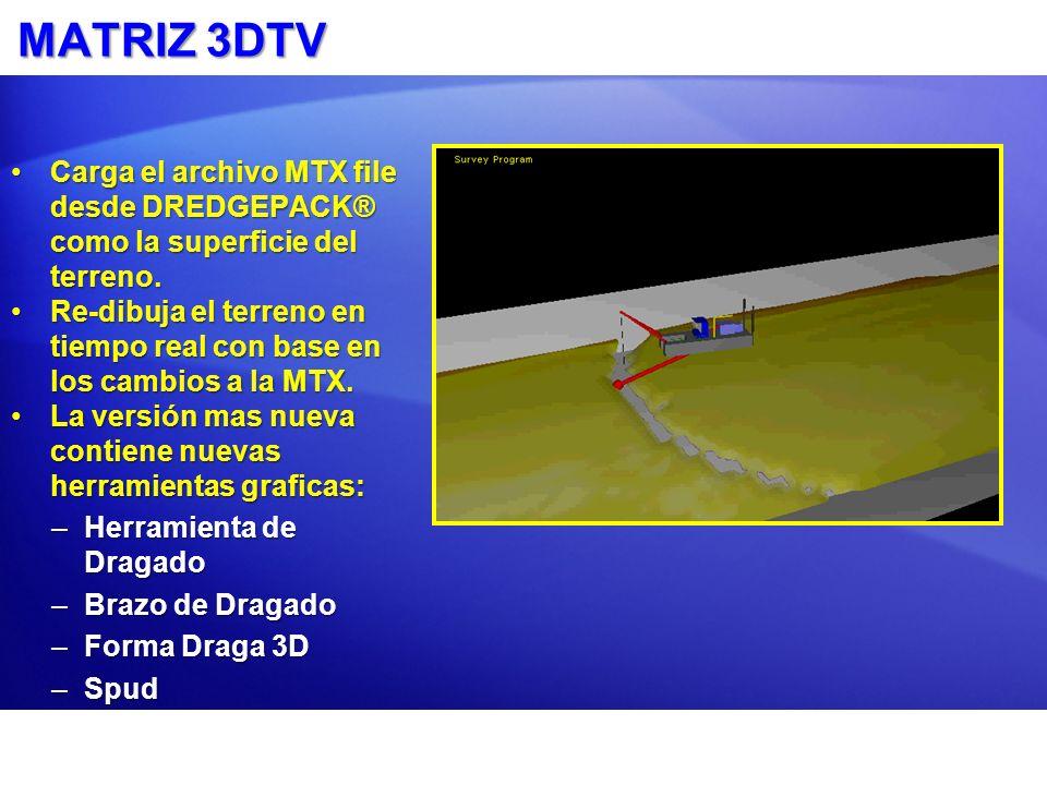 MATRIZ 3DTV Carga el archivo MTX file desde DREDGEPACK® como la superficie del terreno.