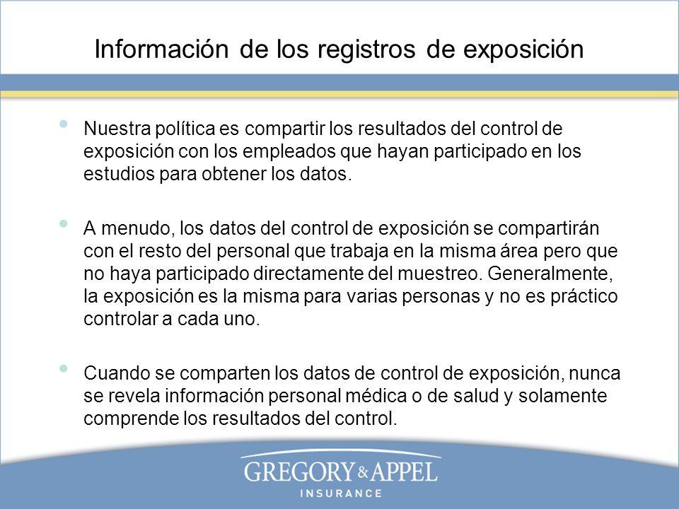 Información de los registros de exposición