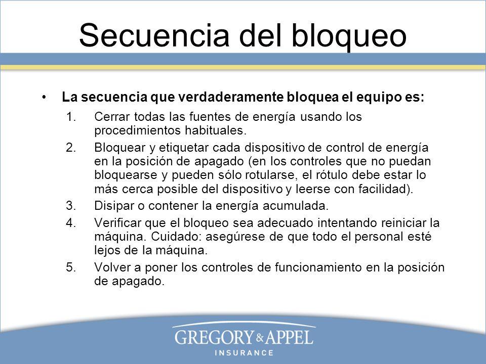 Secuencia del bloqueoLa secuencia que verdaderamente bloquea el equipo es: Cerrar todas las fuentes de energía usando los procedimientos habituales.