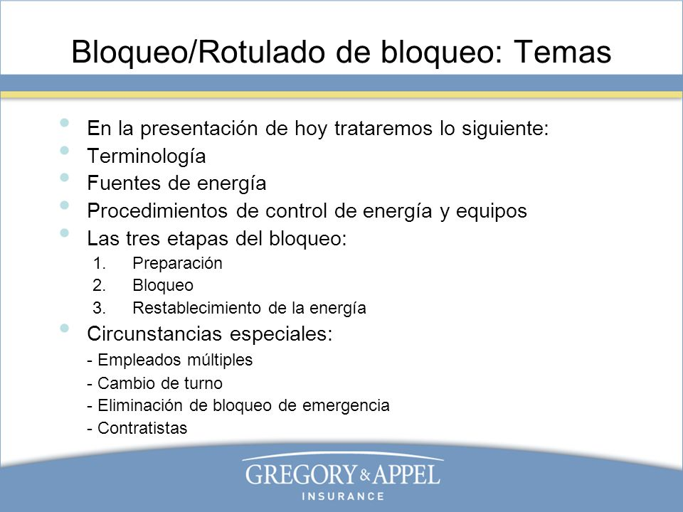 Bloqueo/Rotulado de bloqueo: Temas