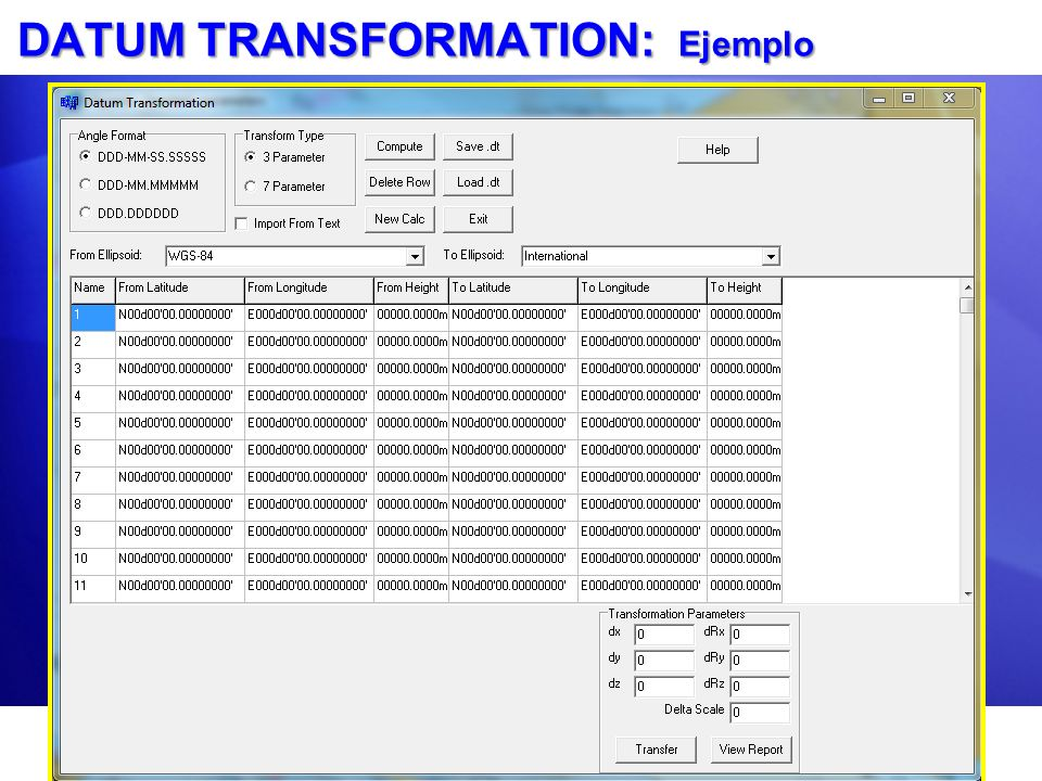 DATUM TRANSFORMATION: Ejemplo