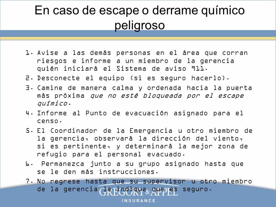 En caso de escape o derrame químico peligroso