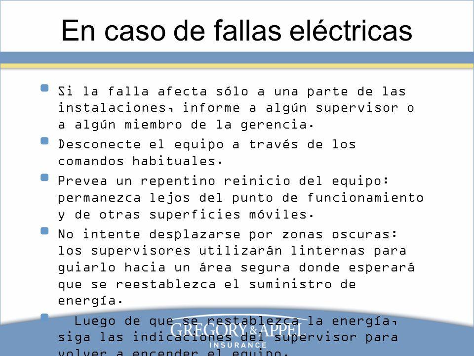 En caso de fallas eléctricas