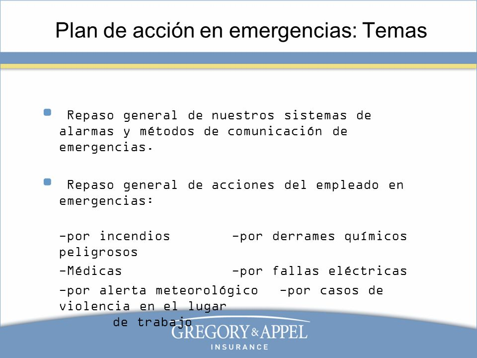 Plan de acción en emergencias: Temas