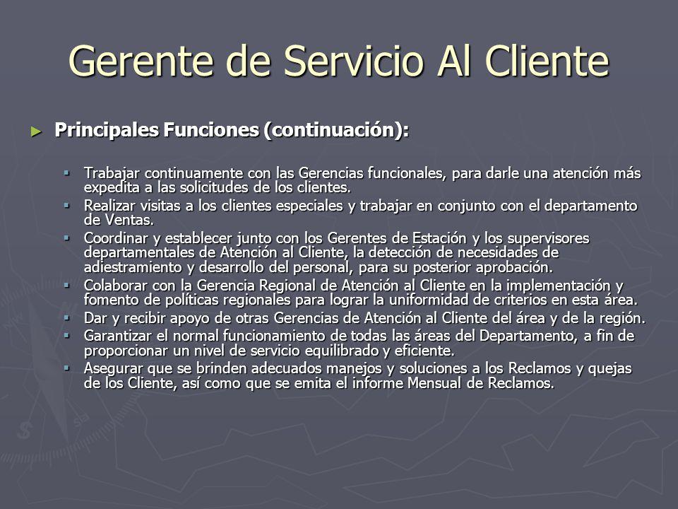 Gerente de Servicio Al Cliente