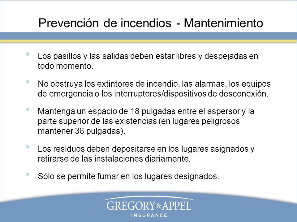 Prevención de incendios - Mantenimiento
