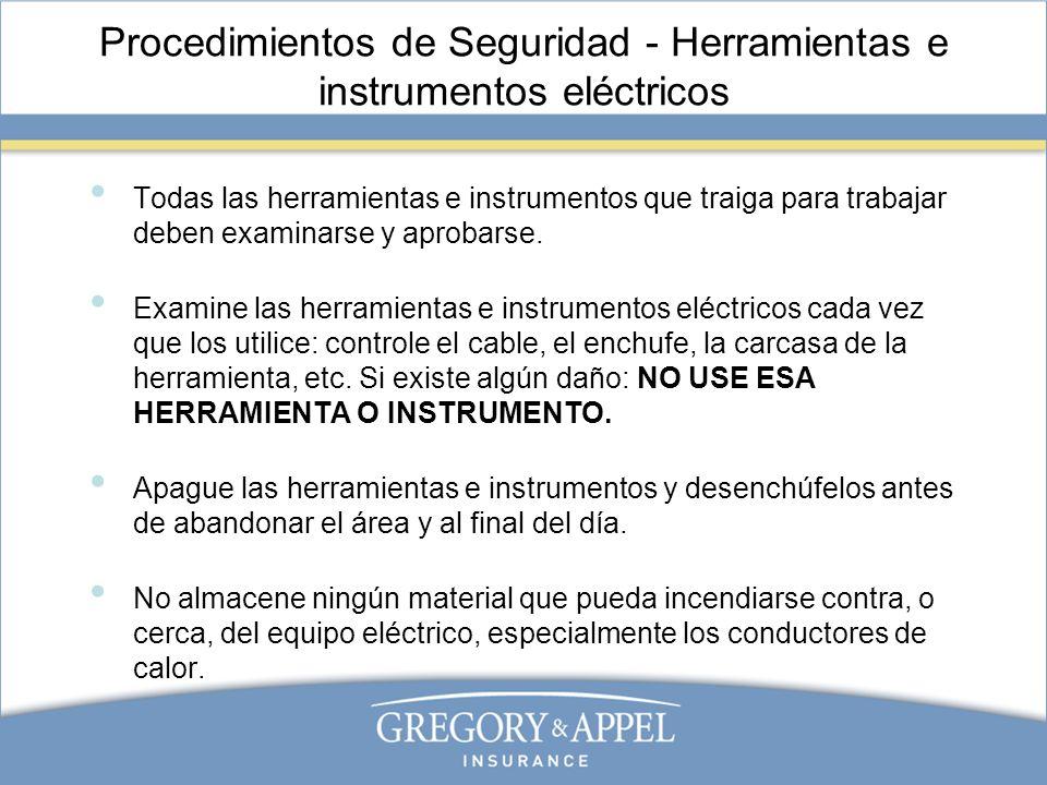 Procedimientos de Seguridad - Herramientas e instrumentos eléctricos