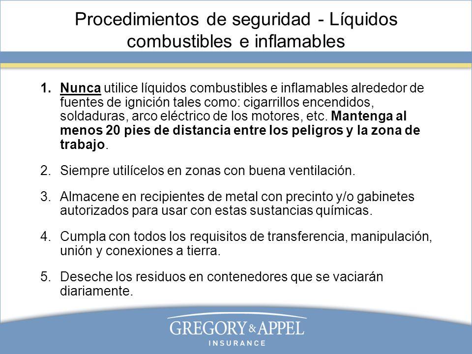 Procedimientos de seguridad - Líquidos combustibles e inflamables