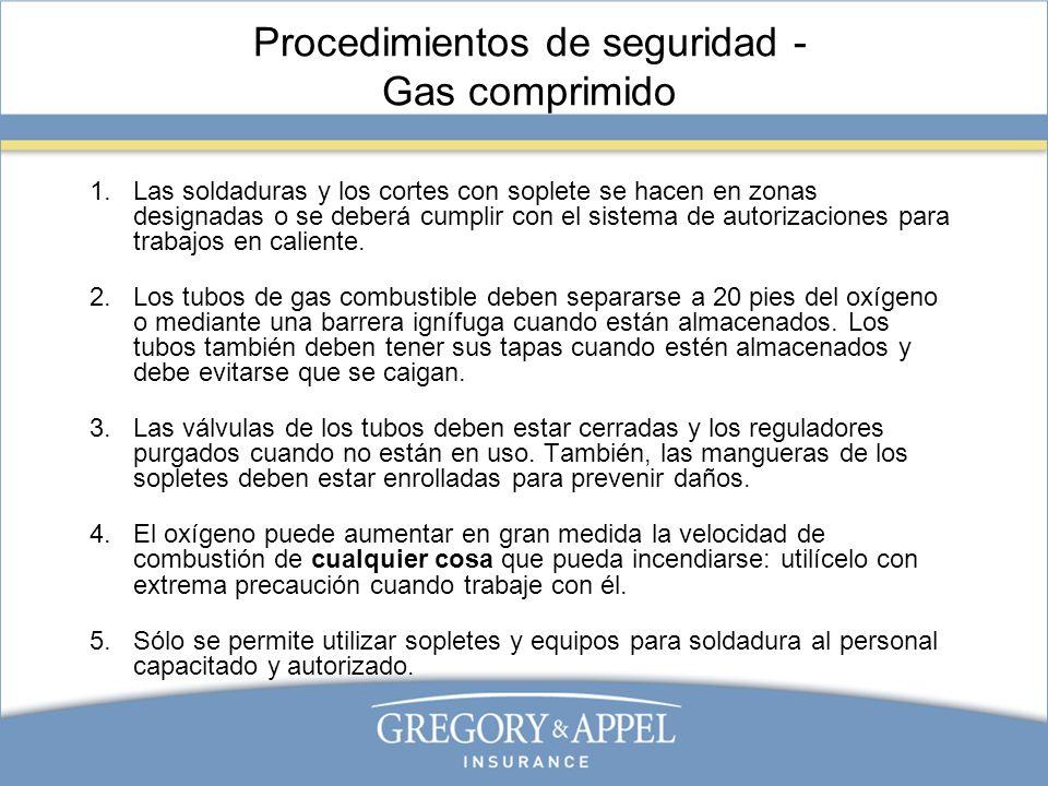 Procedimientos de seguridad - Gas comprimido