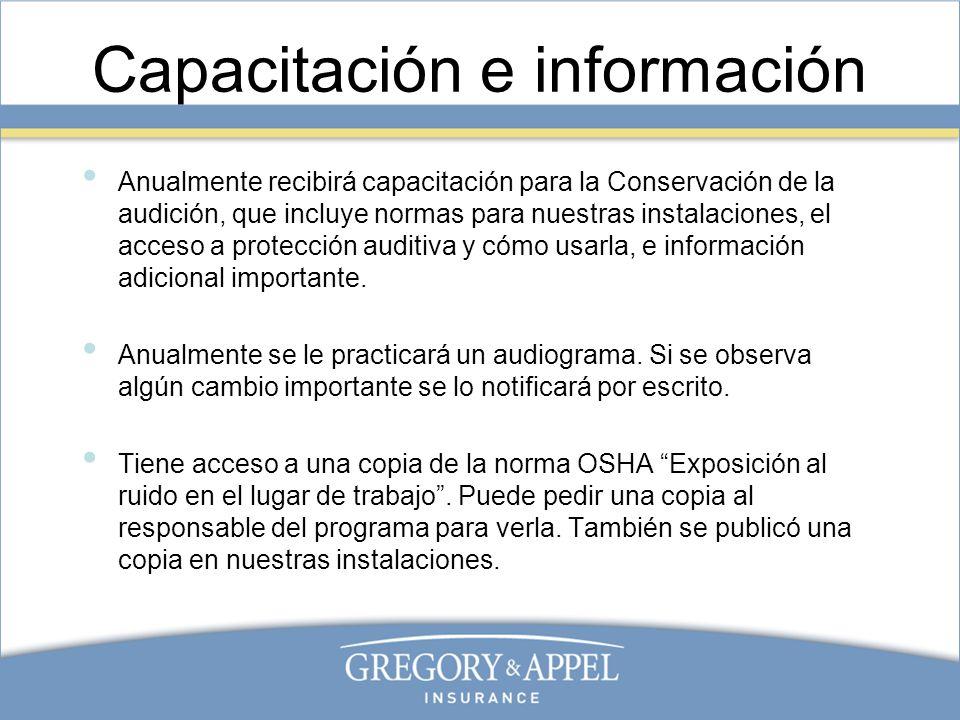 Capacitación e información