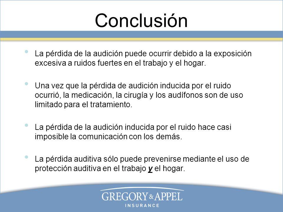 Conclusión La pérdida de la audición puede ocurrir debido a la exposición excesiva a ruidos fuertes en el trabajo y el hogar.