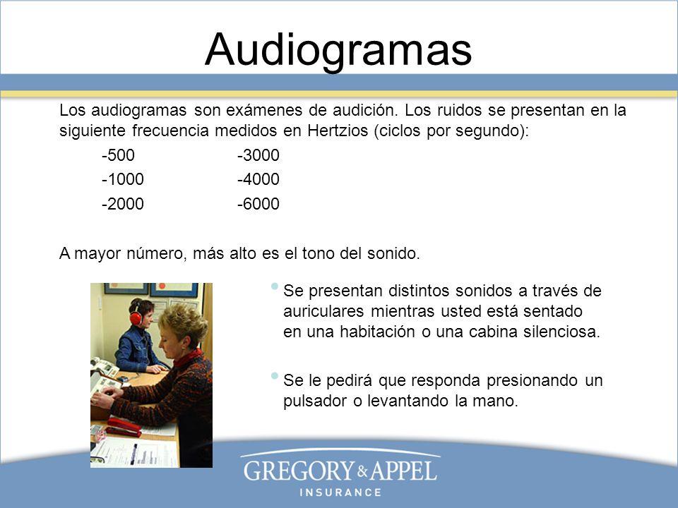 Audiogramas Los audiogramas son exámenes de audición. Los ruidos se presentan en la siguiente frecuencia medidos en Hertzios (ciclos por segundo):