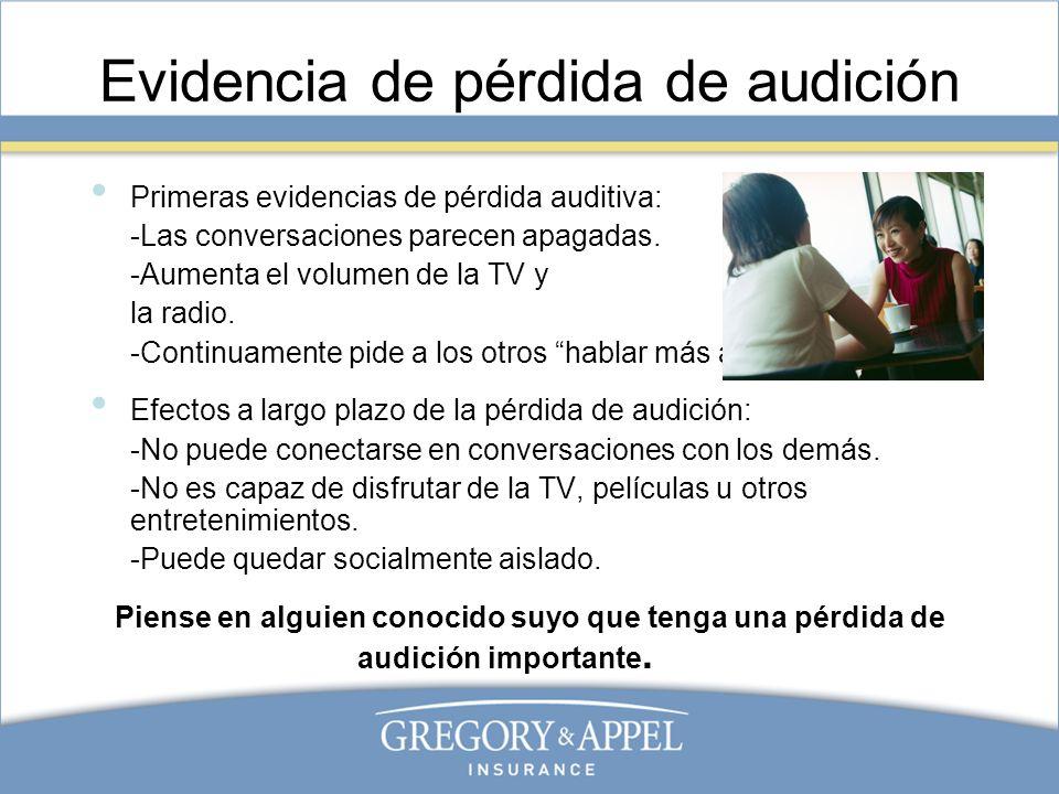 Evidencia de pérdida de audición