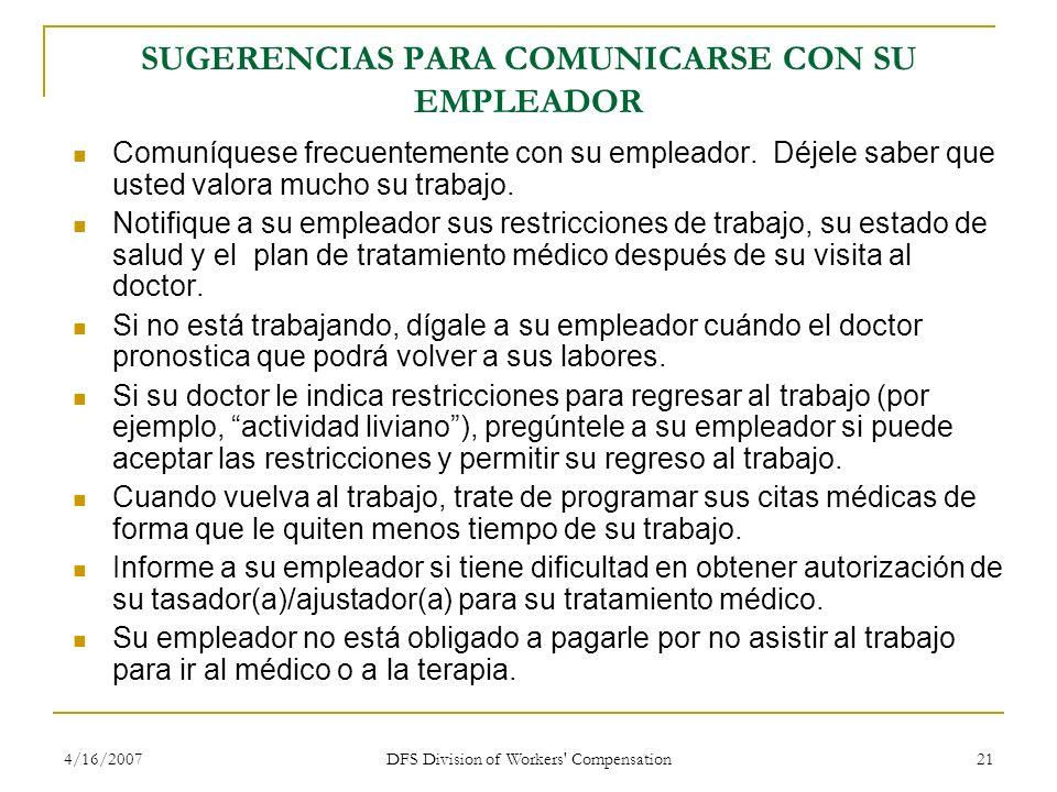 SUGERENCIAS PARA COMUNICARSE CON SU EMPLEADOR