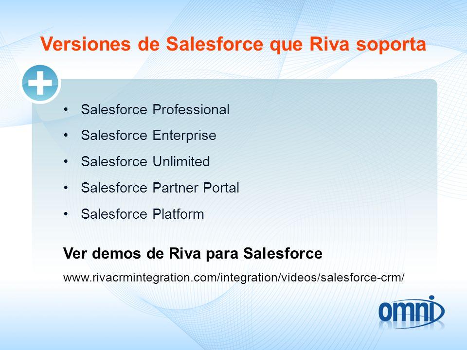 Versiones de Salesforce que Riva soporta